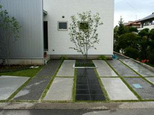 コンクリートをデザイン的に配置・洗い出し仕上げ