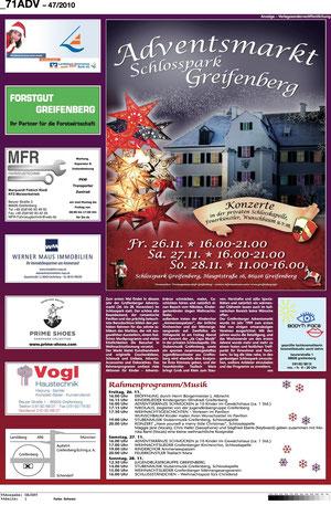 Sponsoren-Anzeige im Kreisboten für den Adventsmarkt im Schlosspark Greifenberg 2010