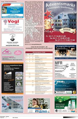 Sponsoren-Anzeige im Kreisboten Adventsmarkt im Schlosspark Greifenberg 2011
