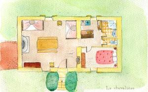 Plan du gîte de la Chevalière