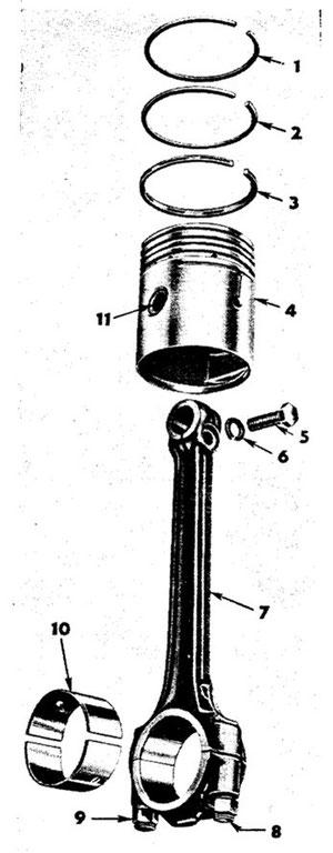 Kolben, Kolbenringe und Pleuel mit Lager WILLYS 4-134