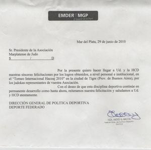 Nota de reconocimiento dirigida al Presidente de la Asociación marplatense de Judo, Prof. Luis Torres de parte del prof. Andrés Maccio, Director General de política deportiva Deporte federado del EMDER de Mar del Plata