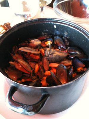 大量のムール貝。