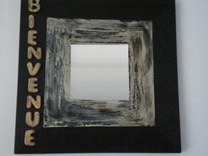 """Miroir """"bienvenue"""" réf:m nb 001  noir et beige 25x25cm  (vendu 18 €)"""
