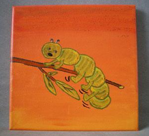 """tableau peint main  20x20 cm """"chenille sur branche"""" réf:hd orve 002 10€"""