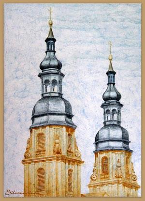 Fulda Barock Domtürme Acryltechnik- und Ölmalerei auf eigener Struktur