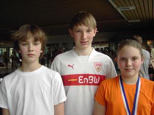 Die Goldmedaillengewinner: Robert Gerns, Jonathan Kurz, Kim-Sophie Ellenberger