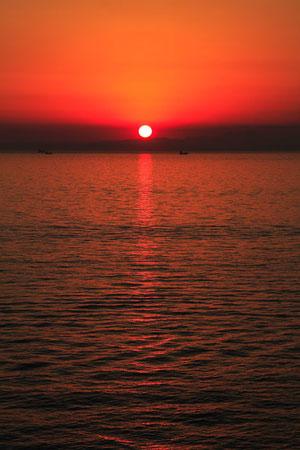 海ほたるから眺めた夕日