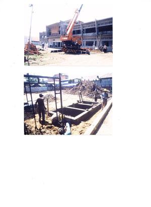 シアヌーク病院(ワールドメイトが支援する24時間無料救急病院)建設中
