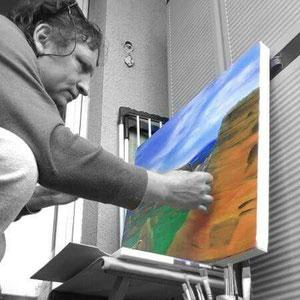 Esecuzione di uno dei quadri per la mostra! OMBRE LUNGO IL CAMMINO DI SANTIAGO