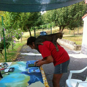 A Rocca grimalda, preparazione della mostra ombre lungo il cammino di santiago