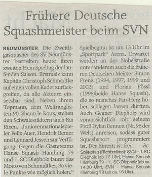 Vorbericht 3. Spieltag Holsteinischer Courier - 12.11.11