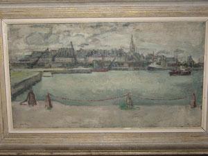 """""""Le port de Saint-Malo"""", huile sur toile de Mc AVOY. Vers 1935."""