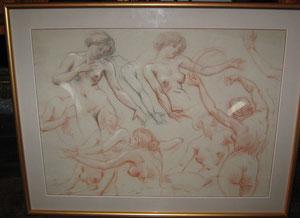 La Lyre: étude de nus féminins à la sanguine.