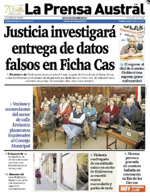 Portada Prensa Austral 03 Nov. 2011
