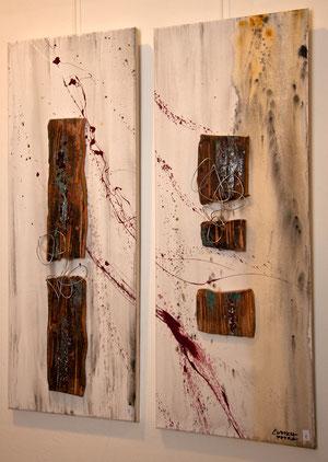 Acrylbild mit Keramik in Holzoptik, auch einzeln zu verkaufen