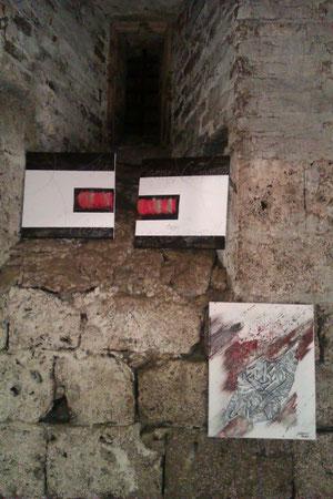 Acrylbild rot 2teilig €95,-  Bild mit Keramikteil €85,-