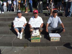 S級入賞者左より2位太田邦雄 優勝水谷秀夫 3位野口晴夫