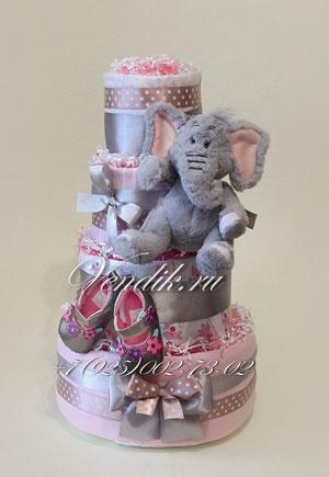 """© Торт из памперсов и детских вещей """"Слонёнок"""""""