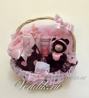 """© Подарочная корзина для новорожденной девочки """" Chocco"""""""