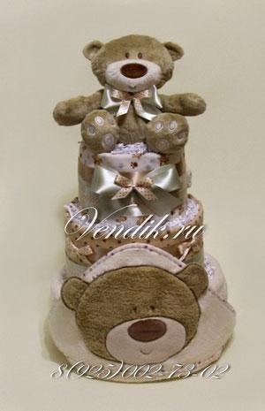 """© Торт из памперсов """"Медвежонок"""" - подарок на рождение"""