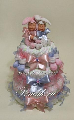 """© Большой торт из подгузников для двойняшек """"Заюшки """" (из коллекции """"Сон на двоих"""" )"""