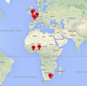 Les 12 communautés d'Europe/Afrique : France, Grande-Bretagne, Burkina-Faso,  Nigéria et Afrique du Sud
