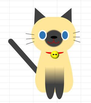 エクセルアートで作成した猫のイラスト