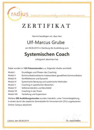 """Zertifikat """"Systemischer Coach"""" von Ulf-Marcus Grube"""