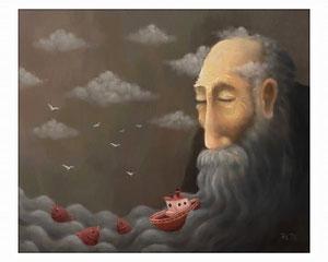 Barquitos navegando en las barbas de un anciano