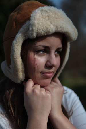 Eine Mütze aus Schaffell