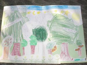 Gemeinschaftsbild: Alle Bäume wurden auf einem Blatt zusammengeklebt. So wurde aus einzelnen Bäumen ein Wald,so wie aus allen Kindern in der Lerngruppe zusammen eine Gemeinschaft wird.