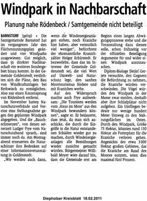 Diepholzer Kreisblatt vom 18.02.2011