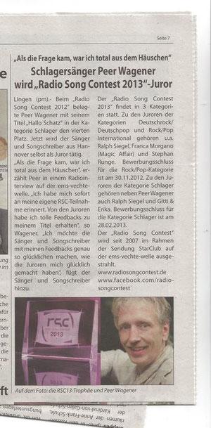 Zeitungsartikel aus dem WR (Wochenendreport - www.wochenendreport.de)  vom 01.12.2012