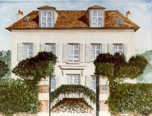 Aquarelle maison région parisienne