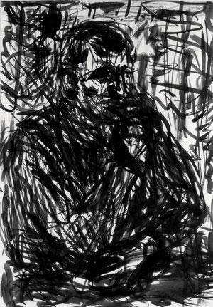 Bildnisstudie A  2006 Chinatusche 29,7 x  42 cm