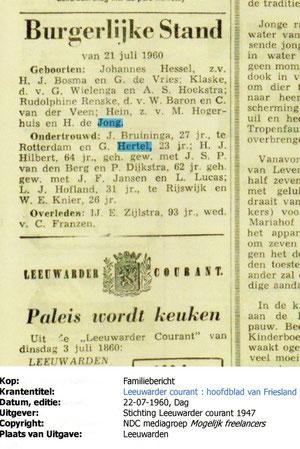 13 Augustus 1960..Getrouwd met de Handschoen..