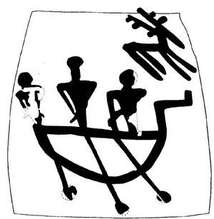 Antiche riproduzioni Etrusche ritovate sul monte Bisenzio che rappresentano navigatori dell'epoca