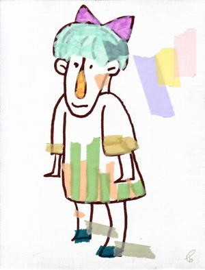 おもながこ/キャンバス 布描きペン マスキングテープ 2012,6.19