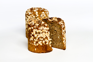 Volkornbrot - Whole Rye Berry bread. Ingredients include organic whole rye berries, rye meal sunflower seeds, oats, honey salt, yeast.