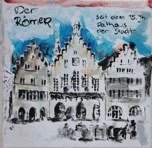 Der Römer.Acryl/Leinwand.20x20cm