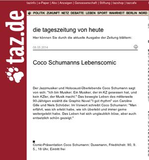 taz: Ankündigung der Buchpremiere bei Dussmann.
