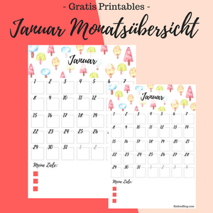 Titelbild: Januar Monatsübersicht