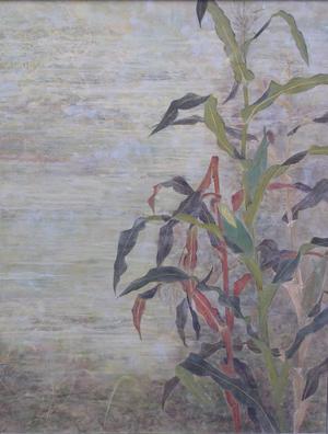 Maisgarten Sandstaub Pigment, Erdefarbe Pigment  auf Japan - Papier ,160 x 126 cm