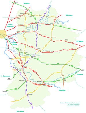Carte des Nationales historiques de Seine-et-Marne