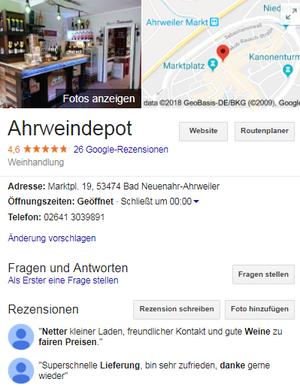 das Ahrweindepot hat auf google business beste Bewertungen.