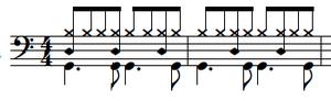 (例2 上から、シンバル、タム バスドラム)