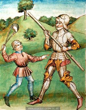 Hier nun ein paar Bilder von genau diesem Kampf. Jedoch aus unterschiedlichen Jahrhunderten. Gut erkennbar ist die Art der Schleuder, mit der geschossen wird. Und wer ganz genau hinschaut, erkennt sogar die Technik des Schusses.