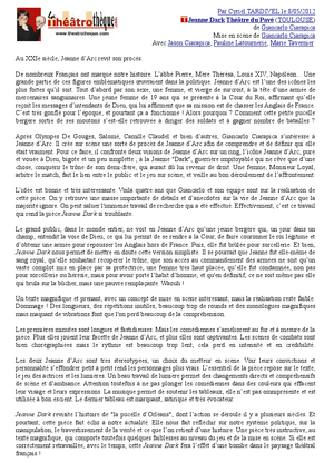"""Article paru dans """"La Théâtrothèque"""""""