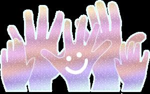 lächelnde Hände